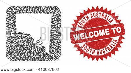 Vector Mosaic South Australia Map Of Pointer Arrows And Grunge Welcome Stamp. Mosaic Geographic Sout