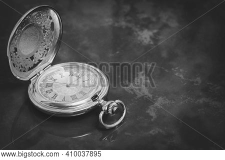 Beautiful Silver Pocket Watch Close Up On Turquoise Marble Background