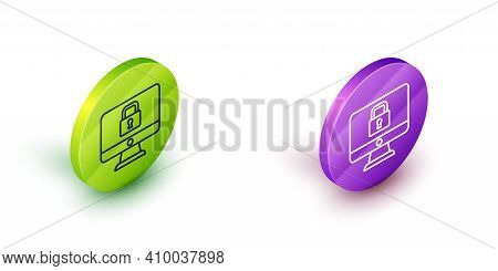 Isometric Line Lock On Computer Monitor Screen Icon Isolated On White Background. Security, Safety,