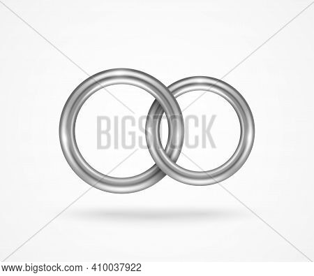 Two Connected Silver Engagement Rings Isolated On White Background. Vector Illustration. Palladium O