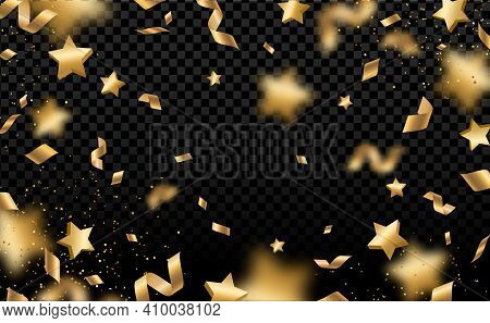 Shiny Gold Confetti And Pieces Of Serpentine Isolated On Black Background. Bright Festive Overlay Ef