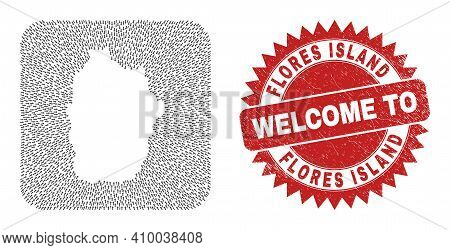 Vector Collage Flores Island Of Azores Map Of Delivery Arrows And Scratched Welcome Seal Stamp.