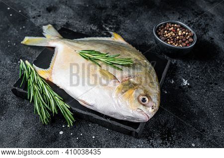 Raw Fish Pompano With Herbs On A Marble Board. Black Background. Top View