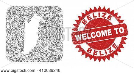 Vector Collage Belize Map Of Direction Arrows And Scratched Welcome Seal Stamp. Collage Geographic B