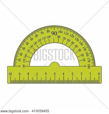 Yellow Protractor Ruler Icon. Simple Illustration Of Protractor Vector Icon For Web Design Isolated
