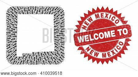 Vector Mosaic New Mexico State Map Of Migration Arrows And Grunge Welcome Badge. Collage Geographic