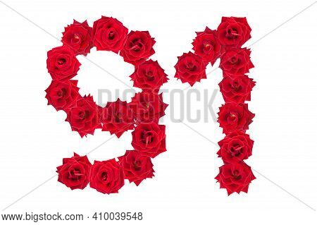 Numeral 91 Made Of Red Roses On A White Isolated Background. Red Roses. Element For Decoration. Nine