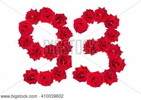 Numeral 93 Made Of Red Roses On A White Isolated Background. Red Roses. Element For Decoration. Nine