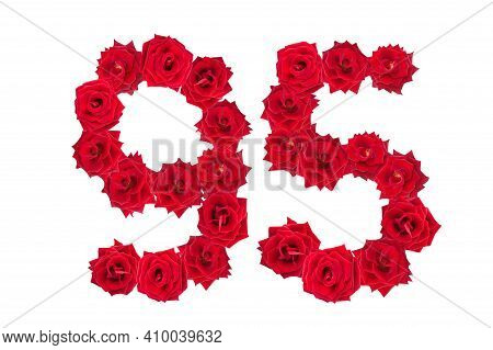 Numeral 95 Made Of Red Roses On A White Isolated Background. Red Roses. Element For Decoration. Nine