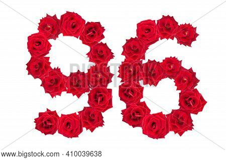 Numeral 96 Made Of Red Roses On A White Isolated Background. Red Roses. Element For Decoration. Nine