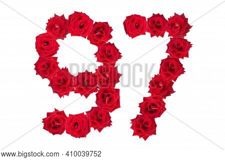 Numeral 97 Made Of Red Roses On A White Isolated Background. Red Roses. Element For Decoration. Nine