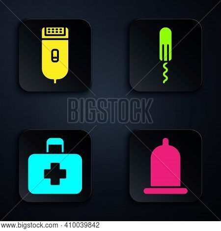 Set Condom, Electrical Hair Clipper Or Shaver, First Aid Kit And Sanitary Tampon. Black Square Butto