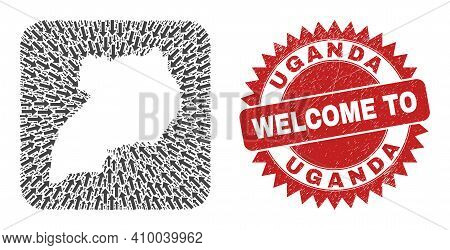 Vector Collage Uganda Map Of Immigration Arrows And Grunge Welcome Seal. Collage Geographic Uganda M