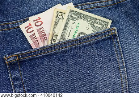 Money In Your Pocket. Bills In The Back Pocket Of Jeans. The Concept Of Pocket Money. Cash. Money Of
