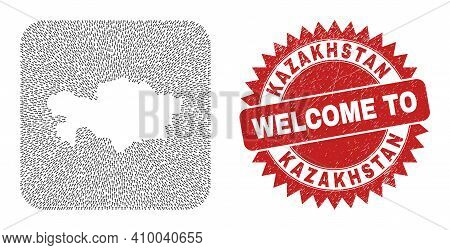 Vector Mosaic Kazakhstan Map Of Straight Arrows And Rubber Welcome Badge. Mosaic Geographic Kazakhst