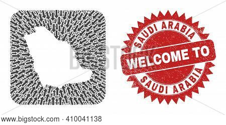 Vector Collage Saudi Arabia Map Of Navigation Arrows And Scratched Welcome Seal Stamp. Collage Geogr