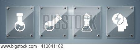 Set Head And Electric Symbol, Test Tube And Flask Chemical, Test Tube And Flask Chemical And Test Tu
