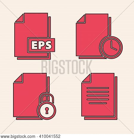 Set Document, Eps File Document, Document With Clock And Document And Lock Icon. Vector