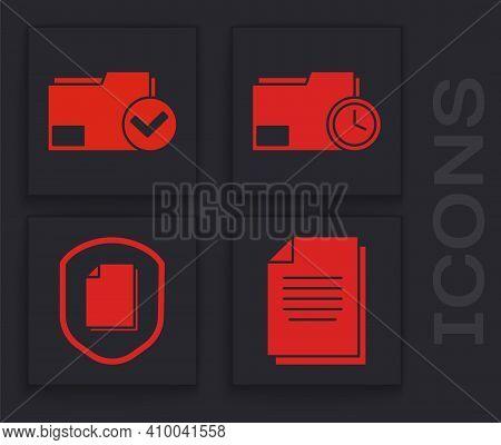Set Document, Document Folder And Check Mark, Document Folder With Clock And Document Protection Con