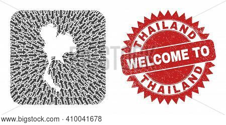 Vector Collage Thailand Map Of Delivery Arrows And Rubber Welcome Stamp. Mosaic Geographic Thailand