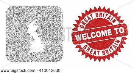Vector Mosaic Great Britain Map Of Movement Arrows And Rubber Welcome Seal Stamp. Mosaic Geographic