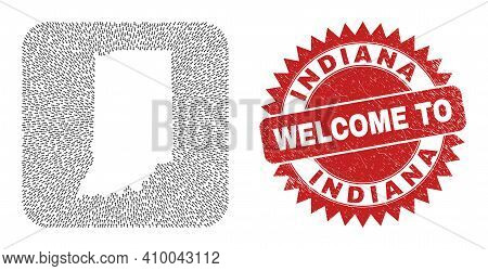 Vector Mosaic Indiana State Map Of Pointer Arrows And Grunge Welcome Seal. Collage Geographic Indian