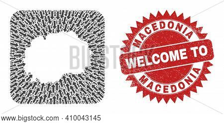 Vector Collage Macedonia Map Of Direction Arrows And Rubber Welcome Stamp. Mosaic Geographic Macedon