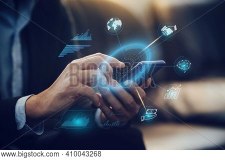 Businessman Investor Analyzing Company Financial Mutual Fund Report Working With Digital Augmented R