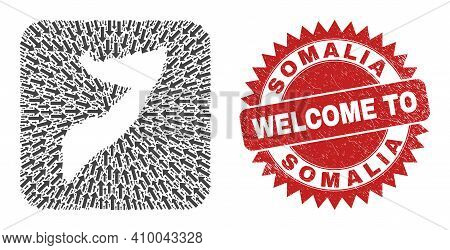 Vector Collage Somalia Map Of Migration Arrows And Grunge Welcome Badge. Collage Geographic Somalia