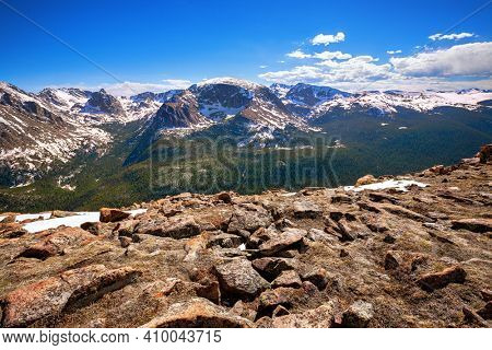 view from Forest Canyon Overlook in Rocky Mountains National Park, Colorado, USA