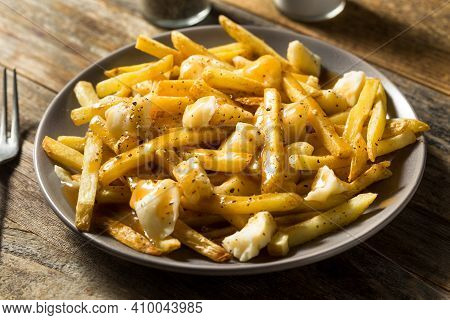 Homemade Unhealthy Canadian Poutine French Fries