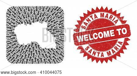 Vector Collage Santa Maria Island Map Of Movement Arrows And Rubber Welcome Badge. Collage Geographi