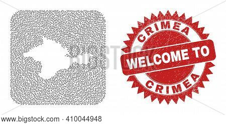 Vector Mosaic Crimea Map Of Pointing Arrows And Rubber Welcome Badge. Mosaic Geographic Crimea Map D