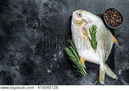 Raw Fish Pompano With Herbs On A Marble Board. Black Background. Top View. Copy Space