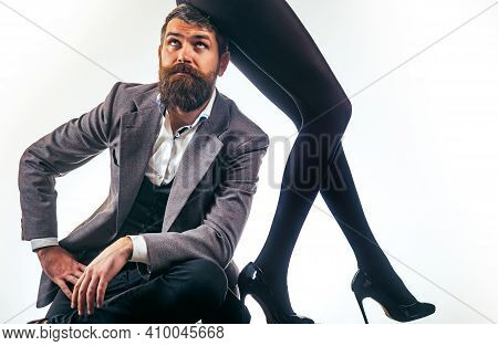 Mistress. Sexy Lady Sit On Head Of Man. Gender Domination, Harassment. Married Couple And Sexual Pro
