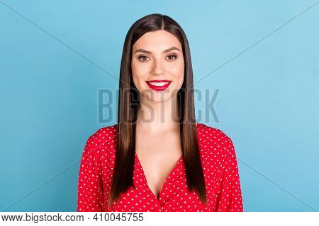 Portrait Of Attractive Cheerful Content Girl Wearing Pinup Blouse Glamour Look Isolated Over Bright