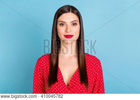 Portrait Of Attractive Gorgeous Content Girl Wearing Pinup Blouse Isolated Over Bright Blue Color Ba