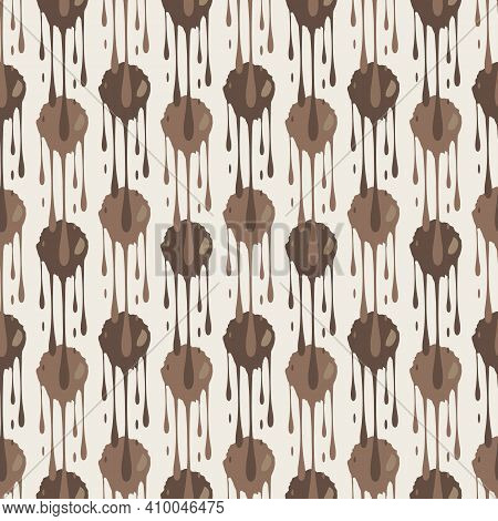 Dripping Chocolate Vector Seamless Pattern Background. Monochrome Brown Backdrop Of Overlapping Melt