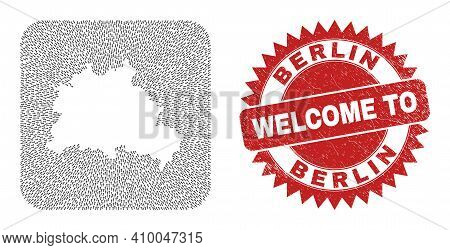 Vector Collage Berlin City Map Of Migration Arrows And Rubber Welcome Stamp. Collage Geographic Berl