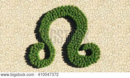 Concept or conceptual group of green forest tree on dry ground background as sign of leo zodiac sign. A 3d illustration symbol for  esoteric, the mystic, the power of prediction of astrology