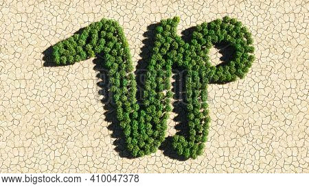 Concept or conceptual group of green forest tree on dry ground background as sign of capricorn zodiac sign. A 3d illustration symbol for  esoteric, the mystic, the power of prediction of astrology
