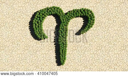Concept or conceptual group of green forest tree on dry ground background as sign of aries zodiac sign. A 3d illustration symbol for  esoteric, the mystic, the power of prediction of astrology