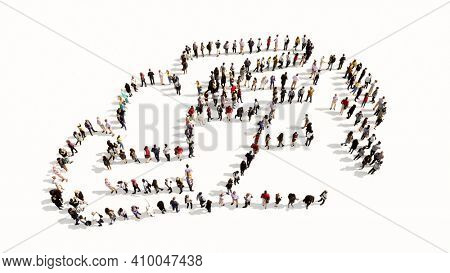 Concept or conceptual large community of people forming the image of a racing car on white background. A 3d illustration metaphor for motorsport, competition, race, speed and power