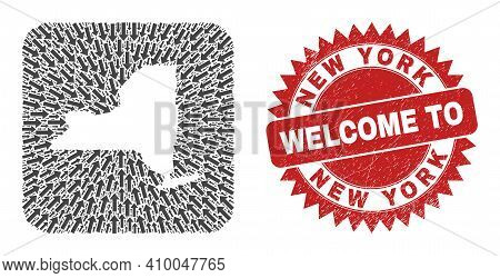 Vector Mosaic New York State Map Of Motion Arrows And Rubber Welcome Seal Stamp. Mosaic Geographic N