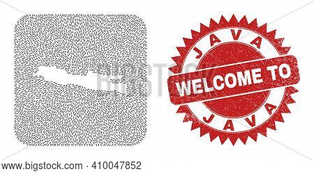Vector Mosaic Java Island Map Of Immigration Arrows And Rubber Welcome Badge. Collage Geographic Jav