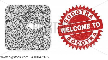 Vector Mosaic Socotra Archipelago Map Of Pointer Arrows And Rubber Welcome Stamp. Mosaic Geographic