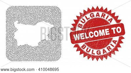 Vector Collage Bulgaria Map Of Direction Arrows And Scratched Welcome Badge. Collage Geographic Bulg