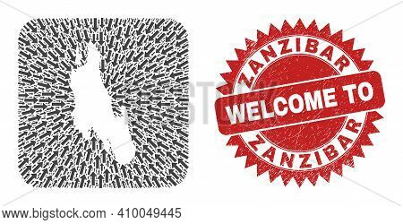Vector Mosaic Zanzibar Island Map Of Movement Arrows And Rubber Welcome Seal Stamp. Mosaic Geographi