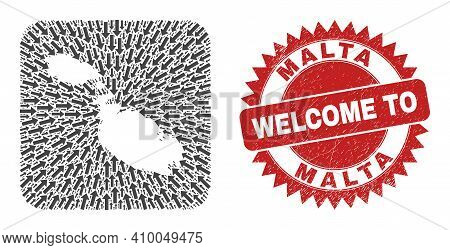 Vector Mosaic Malta Map Of Immigration Arrows And Grunge Welcome Badge. Mosaic Geographic Malta Map