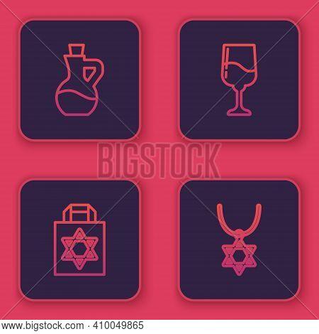 Set Line Bottle Of Olive Oil, Shopping Bag With Star David, Jewish Goblet And Star David Necklace On